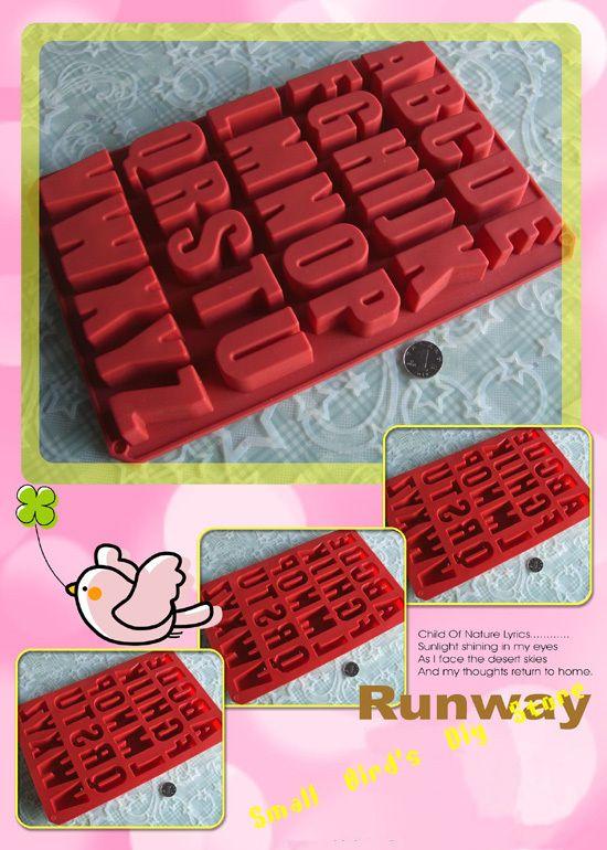 Food grade 26 letters van het alfabet siliconen chocoladevorm/ijs/boter lade mal/koekje/candy mold/taart decoratie/promotinal gift