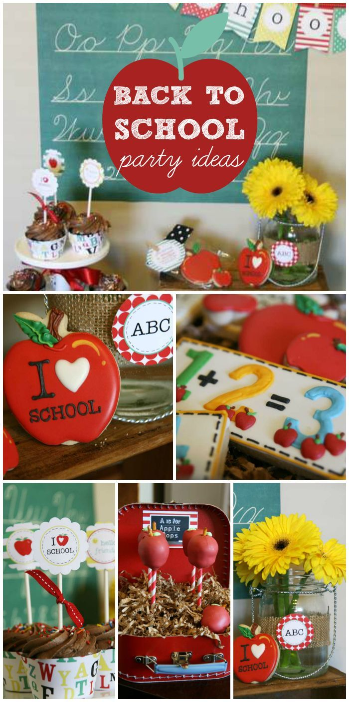 An incredible Back to School party with decorated cookies, apple cake pops and a chalkboard backdrop!  See more party planning ideas at CatchMyParty.com!