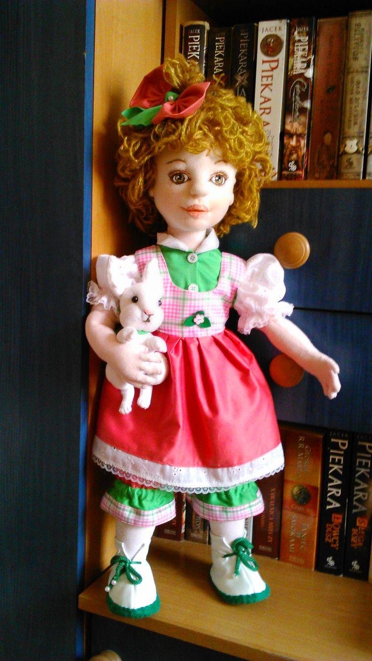 Little Sophie and her bunny, cloth doll. Handmade by Alina Wodzińska