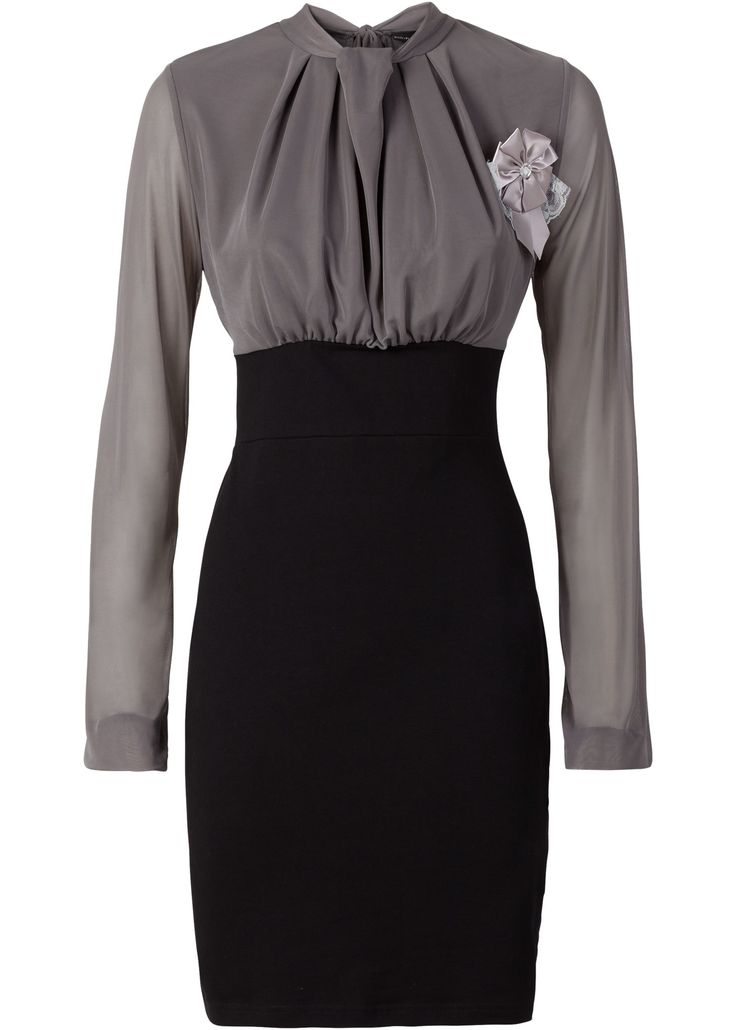 Penye elbise gri/siyah - BODYFLIRT ?imdi bonprix.com.tr Online shop'ta ba?liyan 89,99 TL sipari? Yakas? dökümlü, saten bro? hediyeli modern penye elbise. ...
