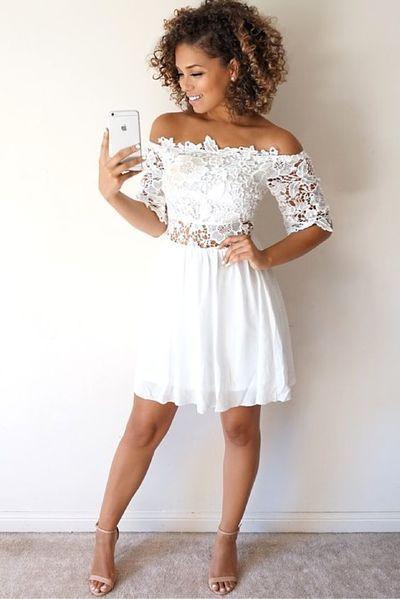 Imagens de vestidos com renda | Gabriele | White homecoming dresses, Mini prom dresses, Dresses