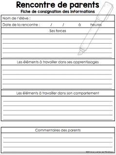 www.le cahier de Pénélope.com Comment préparez-vous vos rencontres de   parents?