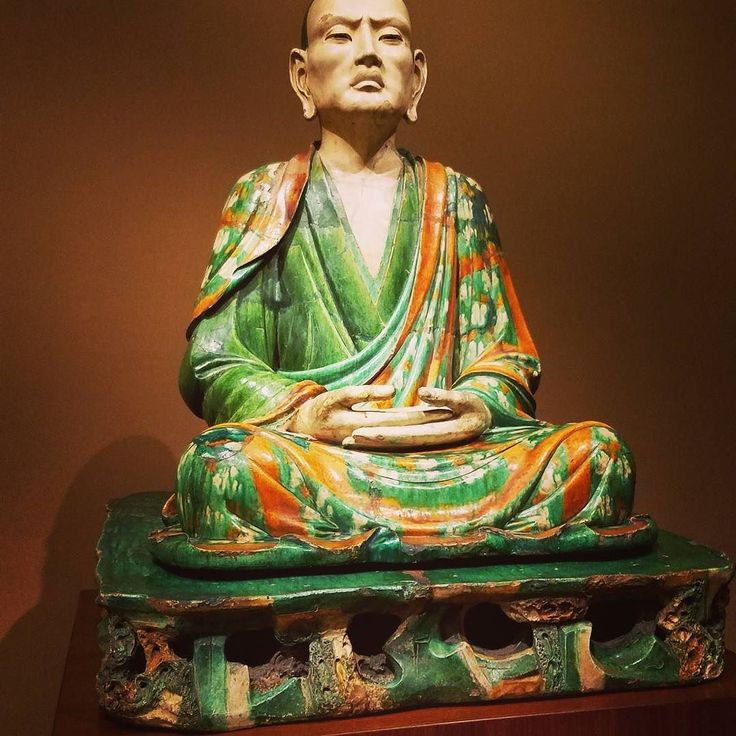 This Luohan sits in the lotus position hands resting before him in a gesture that represents meditation. Luohans are viewed as the ideal disciples of the Buddha known for their rigorous discipline. Their ability to focus and remain diligently devoted to the Dharma or teachings of the Buddha account for their attainment of enlightenment. A virtual cult of veneration developed around the Luohans in the 10th century during the Liao Dynasty. In Chinese culture they became known for their…