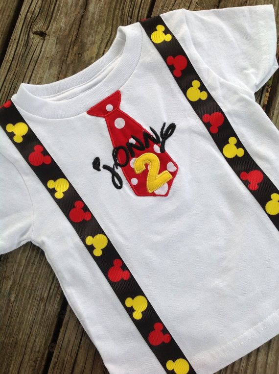 Mickey Mouse Applique Tie and Suspenders Birthday Shirt with Name on Etsy, $29.00