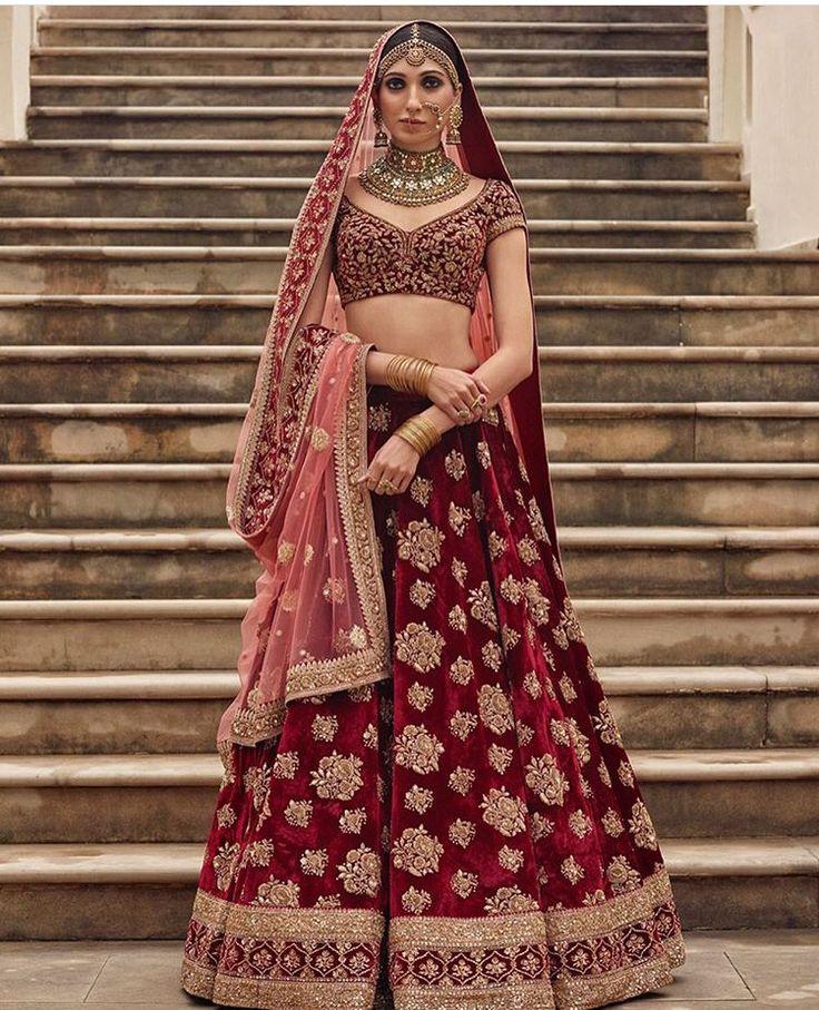 Sabyasachi bride # velvets # hand crafted # lehenga # shades of red