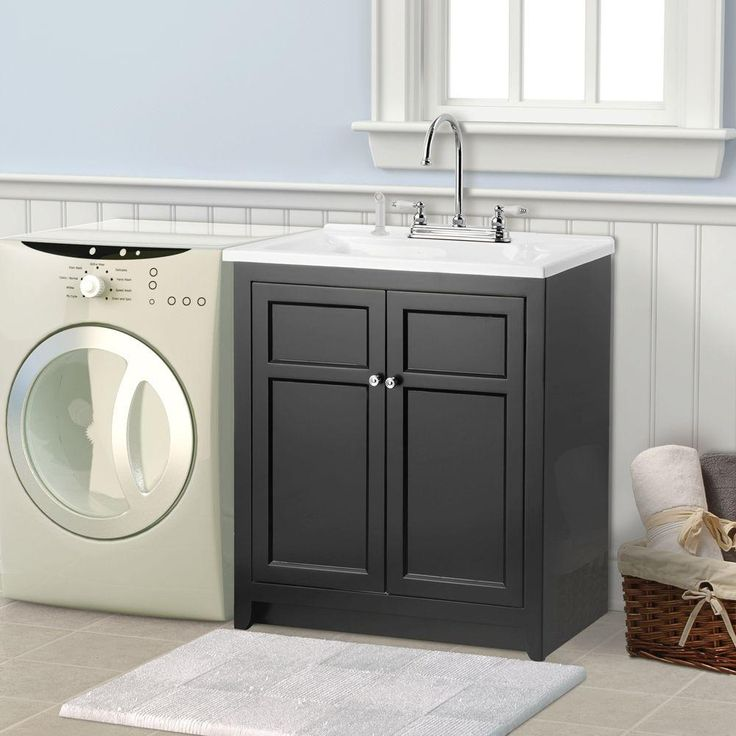 Foremost Conyer 30 in. Laundry Vanity in Black and Premium ...