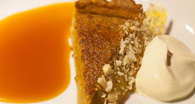 Pumpkin Pie With Salted Caramel Sauce and Macadamia Toffee http://gustotv.com/recipes/dessert/pumpkin-pie-salted-caramel-sauce-macadamia-toffee/