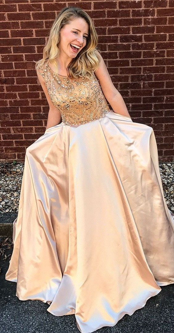 elegant champagne satin prom dress with beading, fashion bateau a-line champagne evening dress with pocket