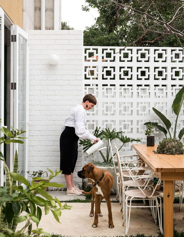 The northfacing courtyard utilises 1960s breezeblocks and white-painted recycled bricks.
