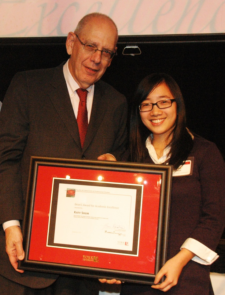 Katy Shum, winner of the Dean's Award for Academic Excellence, with Dean Martin Singer.