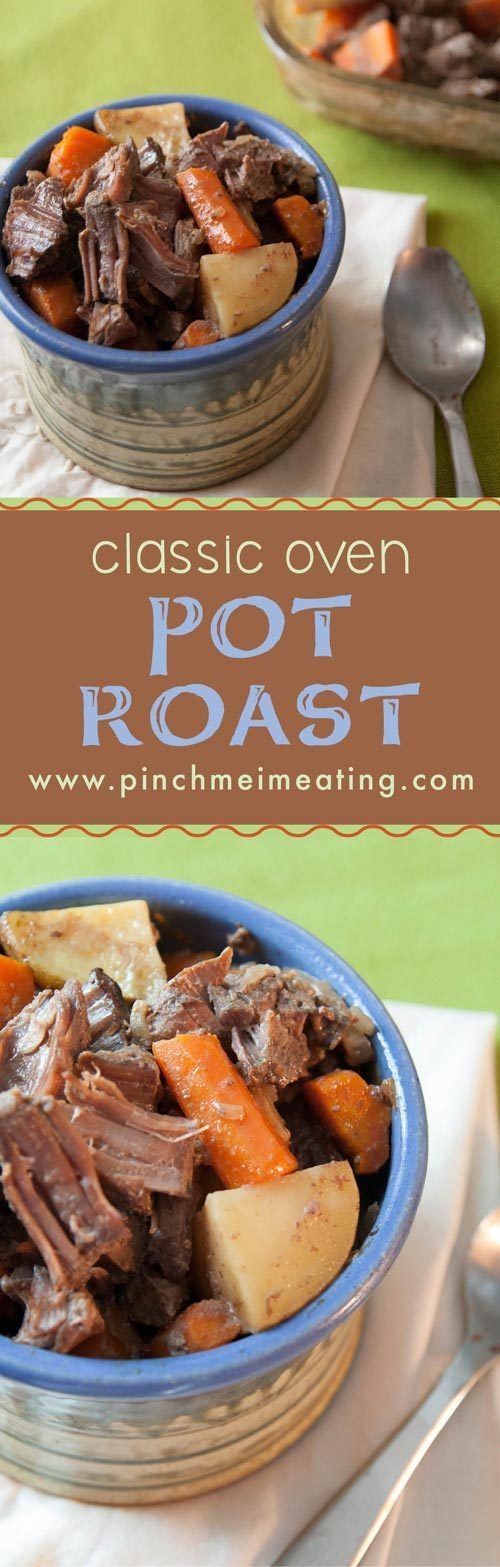 Nothing is as comforting as a flavorful, fork-tender pot roast. Best of all, this is ready for the oven in only 15 minutes, and uses simple ingredients you probably have in your pantry! | www.pinchmeimeating.com