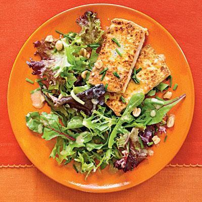 Vegan Pan-Crisped Tofu with Greens and Peanut Dressing | CookinLight.com