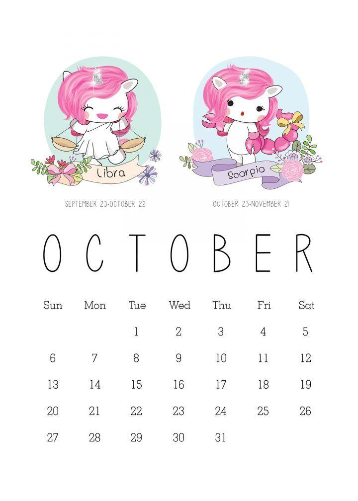Free Printable 2019 Zodiac Sign Kawaii Unicorn Calendar 2019
