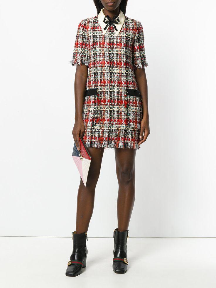 Gucci твидовое платье с вышивкой