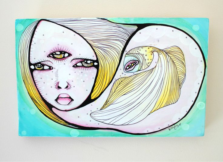 Sea Salt in My Eyes Small Original Painting on Wood Panel by Braidy Hughes by ThePeriwinkleFish on Etsy