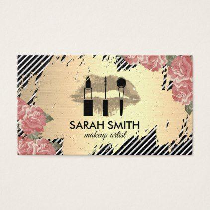#makeup #artist #makeupartist - #Floral and Kiss / Golden / Gold Brushed Business Card
