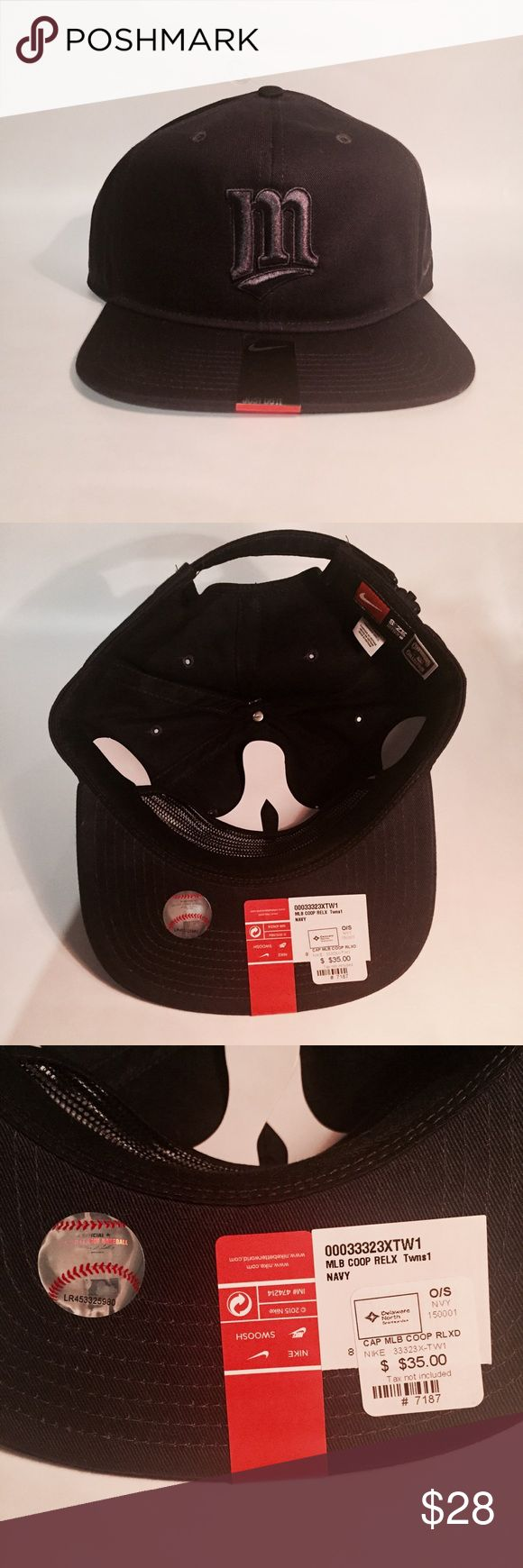 """Nike MLB MN Twins baseball cap NWT MLB Minnesota Twins baseball cap. Unisex. Color is dark navy, looks black in photos. Monochrome, everything on the hat is navy, including the stitched """"M"""" logo on the front. One size, adjustable. Nike Accessories Hats"""