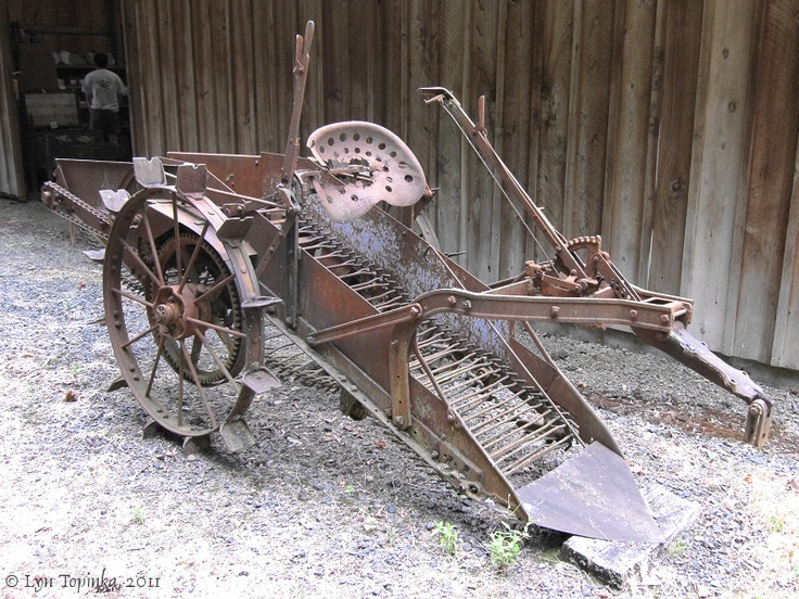 The potato digger was invented by Canadian Alexander Anderson in 1856, horse drawn, they have come a long way from this