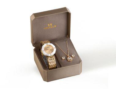 23529LPSVDQ3K1 Relógio Feminino Dourado Seculus Analógico Kit | Guest Club