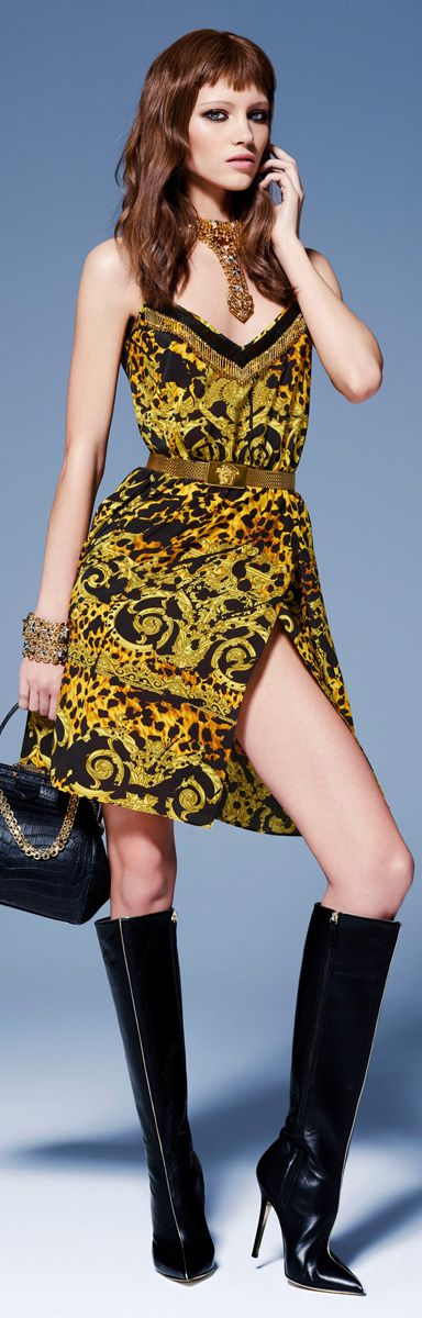 Versace Knee High Boots Pre-Fall 2013