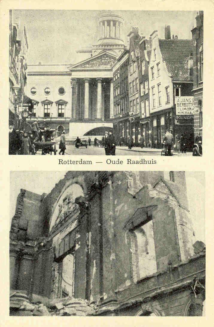 Ook het oude raadhuis viel ten prooi aan het bombardement op 14 mei 1940.