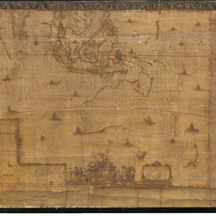 The large-scale map, Archipelagus Orientalis, sive Asiaticus (the Eastern and Asian archipelago), was created in 1663 by the master cartographer for the Dutch East India Company, Joan Blaeu.  It formed the basis for all other maps of New Holland and was used by Captain James Cook to complete the mapping of Australia in 1770.