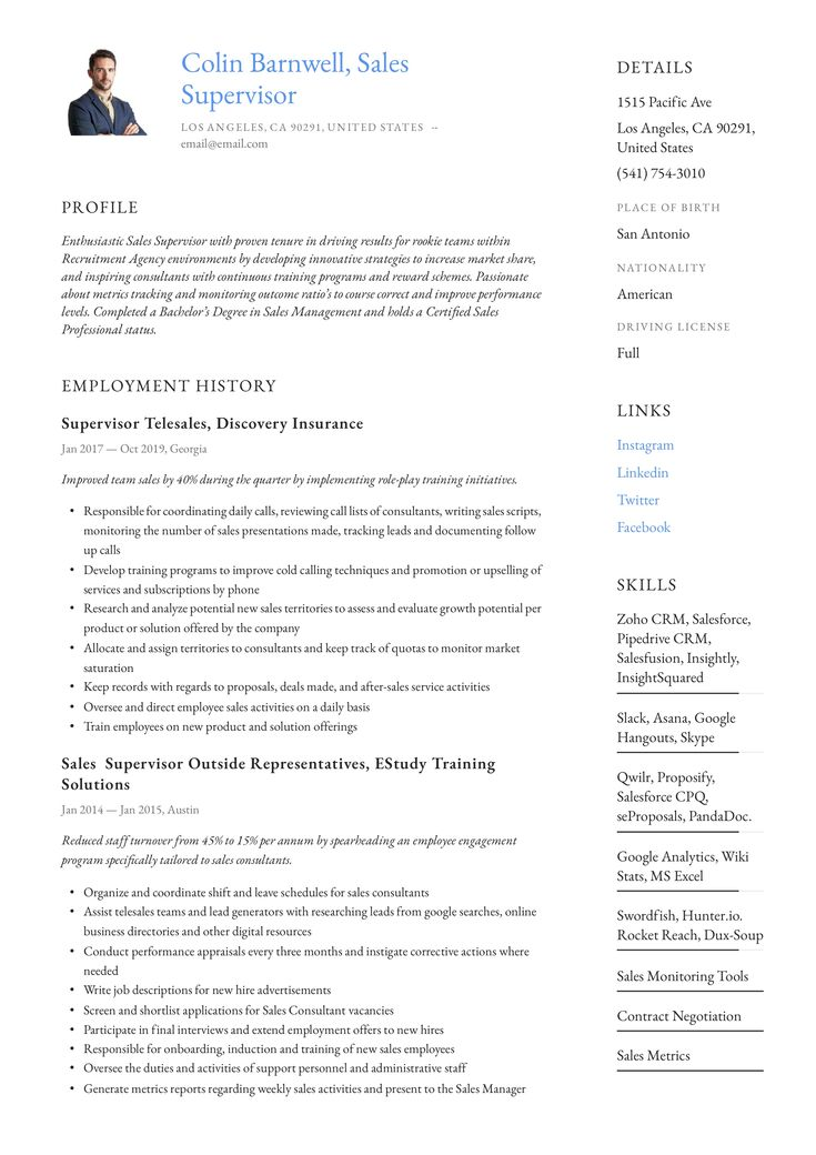 Sales Supervisor Resume Example in 2020 Retail resume