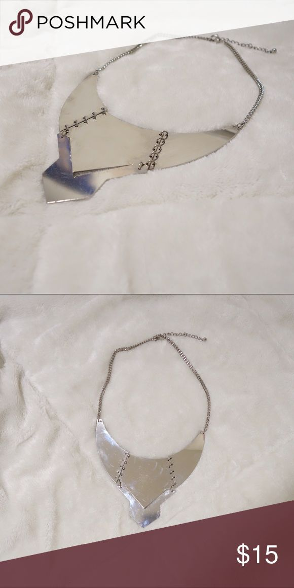 Edgy Chrome Collar Necklace Chrome Collar Necklace | Styling Guide: Wear it under the collar of a Crisp White Shirt tucked in a tapered trouser to give edgy but polished look | Topshop Jewelry Necklaces
