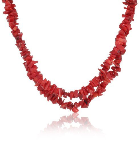 """Genuine Coral Double Strand Necklace with Sterling Silver Clasp, 18"""" Amazon Curated Collection http://www.amazon.com/dp/B00898IZRU/ref=cm_sw_r_pi_dp_SkeRtb0HFTDMH6KP"""