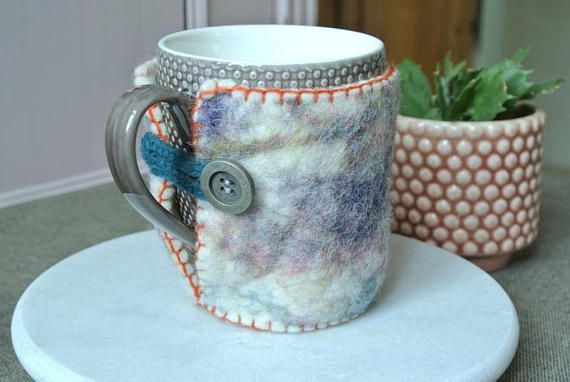 Wool Felt Cup Cozy With Orange Edge and Turquoise Eyelet