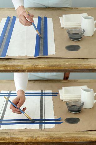 Even easier: Paint stripes onto white linen towels. | 21 Adorable DIY