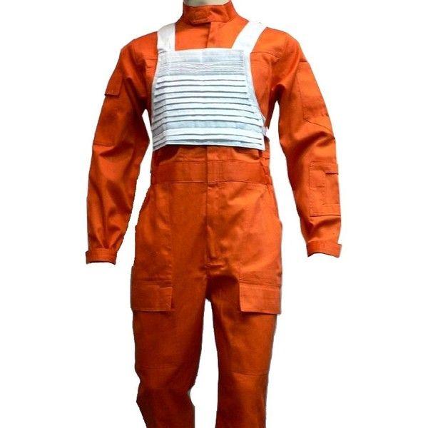 X-wing Rebel Fighter Pilot Orange Jumpsuit White Flak Vest Star Wars... ($95) ❤ liked on Polyvore featuring costumes, orange costume, wing costume, star wars costumes, orange halloween costume and white costumes