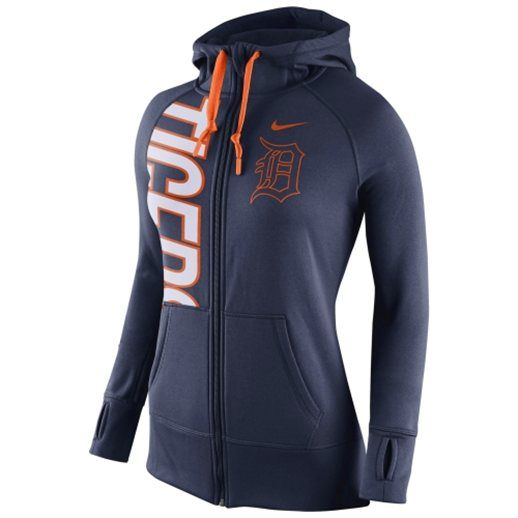 Nike Detroit Tigers Women's Navy Blue Obsessed Performance Full Zip Hoodie