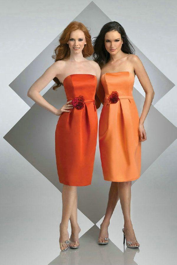 Strapless Tea Length Orange Red Satin Cheap Bridesmaid Dresses With Flower Belt Online Sale
