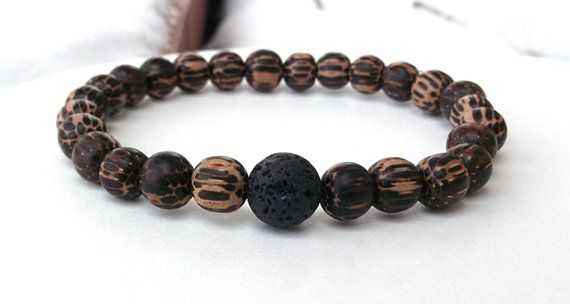 Men's Lava Rock Men's Wood Bracelet Men's by BlueStoneRiver, $25.95