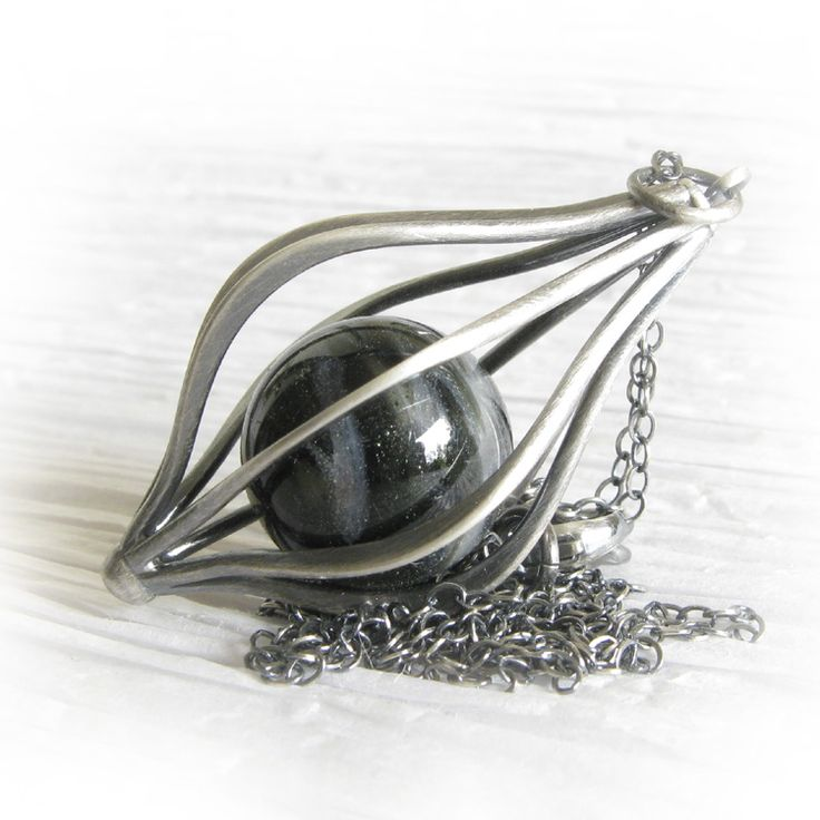 Envelop ~ Glass cremation jewelry marble sterling silver cage necklace 21.jpg