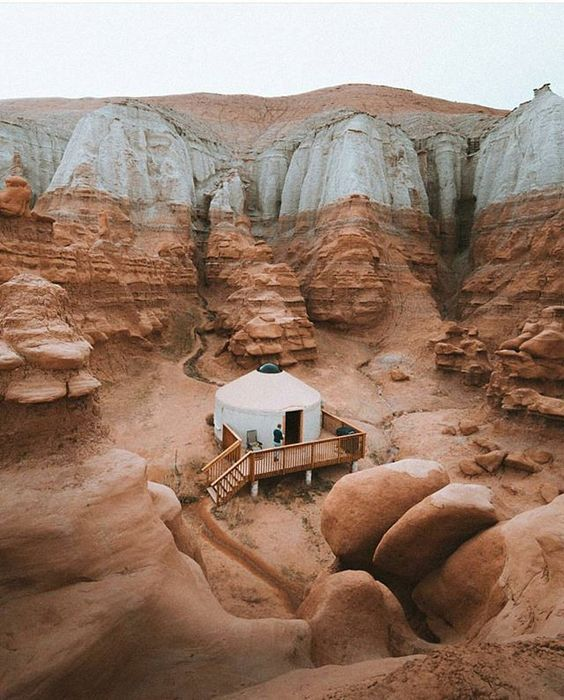 Goblin valley campground has two yurts.  reserve on reserveamerica.com