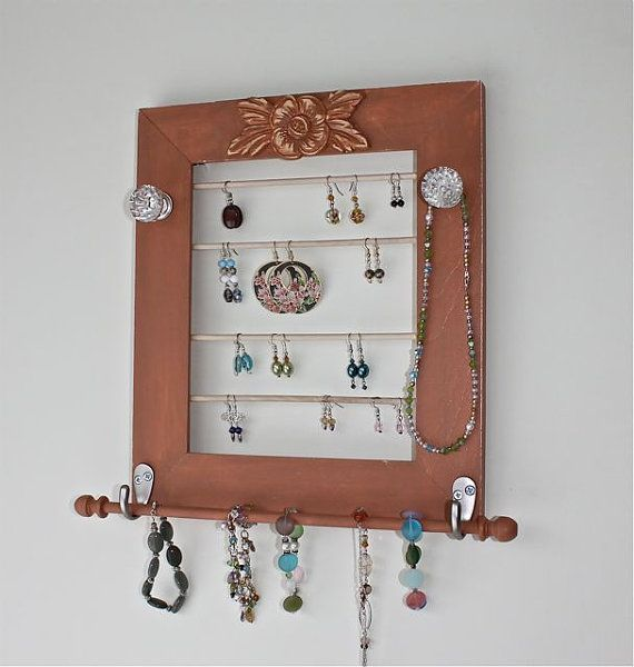 Earring and Jewelry Organizer Wood Frame Accessory Holder for Bracelets, Necklaces. on Etsy, $30.00