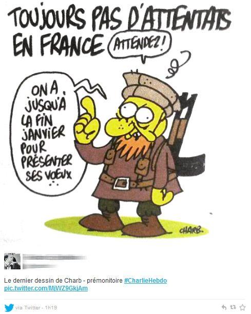 Les dessinateurs Charb et Cabu auraient été tués: leur dernier dessin tristement prémonitoire