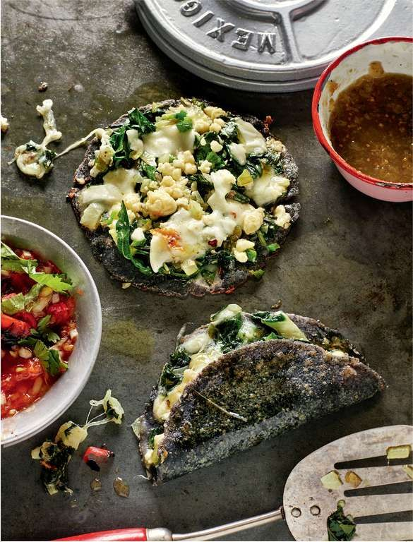 Experience a taste of Xochimilco market with Rick Stein's recipe for blue corn and cheese quesadillas with courgette flowers. Learn how to make authentic Mexican blue corn tortillas, or for a quick midweek supper buy flour tortillas from your local supermarket. Oozing with Lancashire cheese, grated mozzarella, and wilted courgette flowers, these make for an extra special weekend dinner with friends. #mexicanrecipes