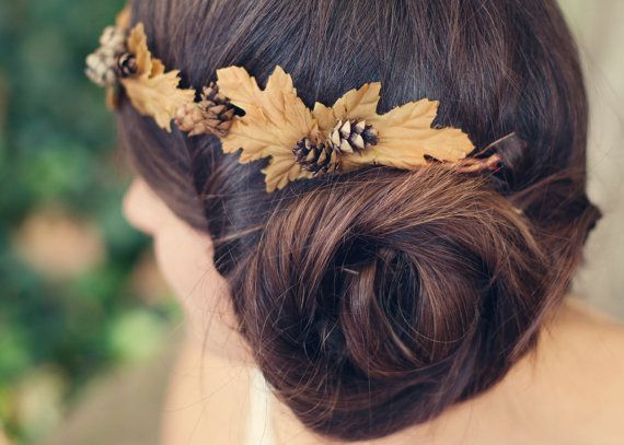 Autumn wedding crown Woodland fall wedding Bridal by whichgoose, $60.00