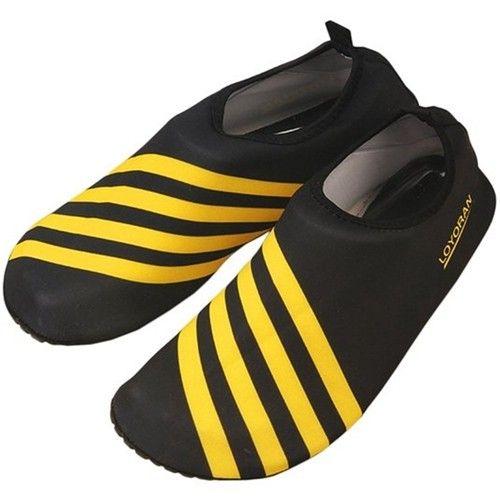Yellow Adult Stripe SwimPool Shoes