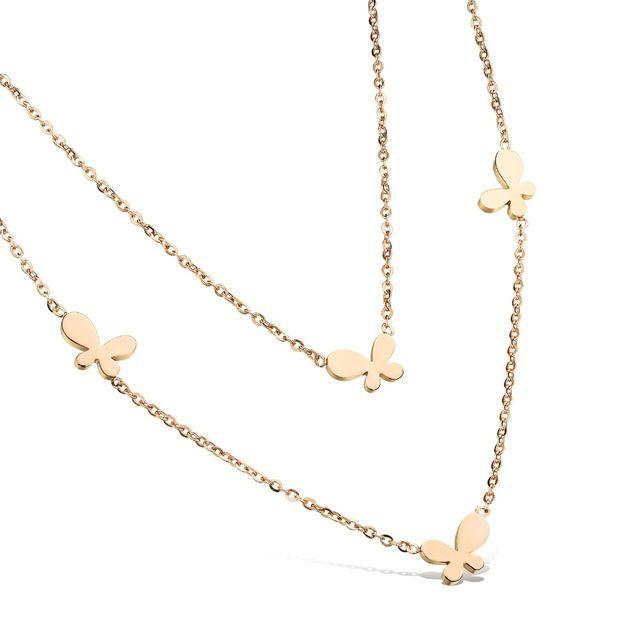 Роуз Позолоченные Ожерелья Женщины Ожерелье Из Нержавеющей Стали Ювелирные Изделия Женщины Ожерелье Бабочка Двойной Слой Оптовая GX1005
