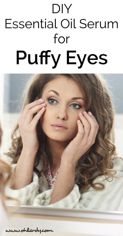 DIY serum for puffy eyes.  Uses natural, pure essential oils to reduce puffiniess. - Oh Lardy :: Want some simple tips to help you detoxify your personal care products?  Grab this awesome PDF with great recipes and tricks to help you: https://il313.infusionsoft.com/app/form/d2af4441b09d6f19ec3310f0908ed64d