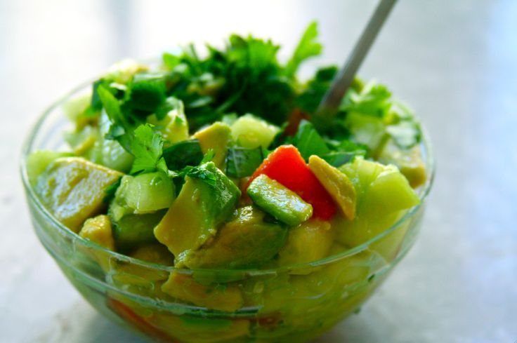 Cucumber, avocado, & tomato salad: try the tahini salad dressing from that other pin.