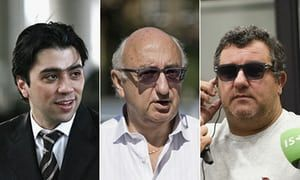 Football agents Kia Joorabchian, Jonathan Barnett and Mino Raiola.
