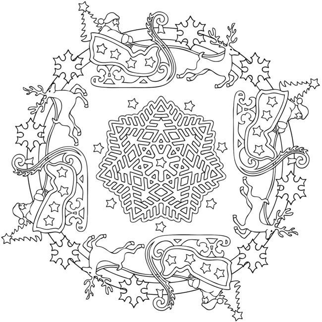 christmas mandala 1 by marty noble free coloring pagescoloring