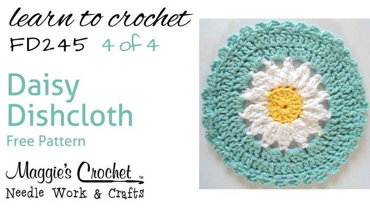 Daisy Dishcloth Part 4 of 4 Right Hand Free Crochet Pattern FD245