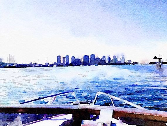 Cityscape View from a Boat Bordered Print. Digital Design from The Wishing Wall Art on Etsy. Printed on high quality paper in 4 sizes. Custom sizes are available. Digital download coming soon.