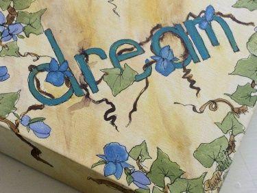 Nature Garden Art Ivy Violets Dream Canvas Original Painting